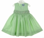 NEW Carriage Boutiques Green Smocked Dress with Embroidered Pastel Flowers