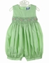 """<img src=""""http://site.grammies-attic.com/images/blue-sold-1.gif""""> NEW Carriage Boutiques Green Smocked Bubble with Embroidered Pastel Flowers"""