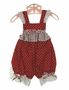 NEW Red Dotted Pinafore Style Sunsuit with White Eyelet Trim