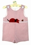 "<img src=""http://site.grammies-attic.com/images/blue-sold-1.gif""> NEW C. I. Castro Red Striped Shortall with Puppy and Ladybug Applique"