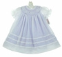 NEW Will'Beth White Bishop Smocked Dress with Lavender Ruffled Slip for Babies, Toddlers, and Little Girls