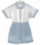 NEW Will'Beth Blue and White Cotton Button on Shorts Set with Removable Bowtie and Matching Hat