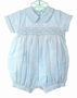 NEW Will'beth Pale Blue Smocked Romper with Pintucks, Satin Piping and Seed Pearls