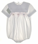 "<img src=""http://site.grammies-attic.com/images/blue-sold-1.gif""> NEW Garden of Angels White Smocked Baby Bubble with Lace Trimmed Square Collar"