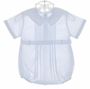 NEW Feltman Brothers Pale Blue Pintucked Romper with Embroidered Collar