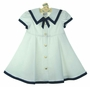 NEW C. I. Castro Shirley Temple Style White Sailor Dress with Navy Tie