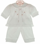 NEW Will'Beth White Long-Sleeved Diaper Set and Matching Booties with Pink Embroidery