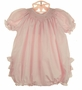 NEW Petit Ami Pink Dotted Bishop Smocked Bubble with Ruffled Bottom