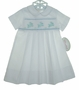 NEW Rosalina White Smocked Daygown with Blue Bunnies