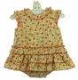 NEW Sarah Louise Orange and Yellow Flowered Ruffled Sunsuit