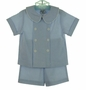 NEW Bailey Boys Blue Seersucker Striped Double Breasted Shorts Set
