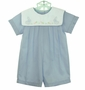 "<img src=""http://site.grammies-attic.com/images/blue-sold-1.gif""> NEW Petit Ami Blue Romper with Bunny Embroidered White Portrait Collar"
