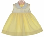"<img src=""http://site.grammies-attic.com/images/blue-sold-1.gif""> NEW Willbeth Yellow and White Sleeveless Dress with Bunny Embroidery"