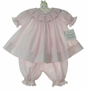 NEW Royal Child Pink Bishop Smocked Pantaloon Set with Embroidered Rosebuds