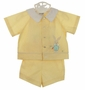 Retro 1960s Unworn Nannette Yellow Striped Sunsuit and Diaper Shirt Set with Bunny and Carrot Embroidery