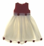 NEW Sarah Louise Red and Ivory Satin and Tulle Ballerina Dress with Red Roses
