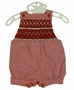 "<img src=""http://site.grammies-attic.com/images/blue-sold-1.gif""> NEW Will'Beth Red Checked Smocked Sunsuit"