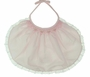 NEW Rosalina Delicate Pink Smocked Bib with Rosebud Embroidery and French Lace Trim