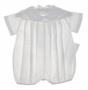 """<img src=""""http://site.grammies-attic.com/images/blue-sold-1.gif""""> NEW Chabre White Linen Romper with Pleated Front"""