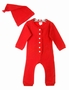 "<img src=""http://site.grammies-attic.com/images/blue-sold-1.gif""> NEW Red Dropseat Pajama Set with Matching Hat"