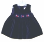 """<img src=""""http://site.grammies-attic.com/images/blue-sold-1.gif""""> Navy Blue Velvet Baby Jumper with White Lace Ruffle"""