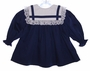 Bryan Navy Blue Baby Dress with White Lace Edged Collar