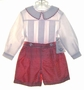 NEW Lavender Blue Red Checked Silk Button on Shorts Set with White Shirt