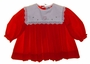 NEW Petit Ami Red Pleated Baby Dress with Portrait Collar and Embroidered Heart