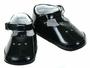 "<img src=""http://site.grammies-attic.com/images/blue-sold-1.gif""> NEW Black Patent Leather T Strap Baby Shoes with Open Heart Trim"