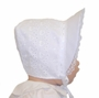 NEW White Bonnet with Heart Embroidery and Lace Trimmed Wide Face Ruffle
