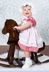 NEW Will'beth Red Checked Pinafore Style Pantaloon Set with Holiday Embroidery (HOC0917)