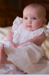 NEW Will'Beth White Bishop Smocked Dress with White Embroidered Rosebuds and White Ribbons (CC0649)