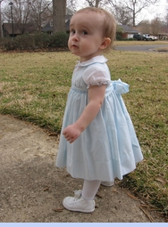 NEW Sarah Louise Blue Smocked Dress with Embroidered Bunnies (