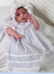 NEW Will'Beth White Bishop Smocked Dress with Lavender Ruffled Slip for Babies, Toddlers, and Little Girls (CC0647) and NEW Will'Beth White Smocked Baby Bonnet with Lavender Embroidered Flowers (BB05175)