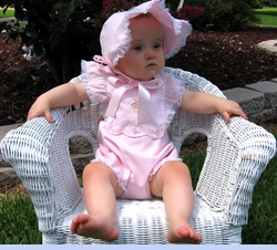 NEW Royal Child Pink Vntage Style Sunsuit with Embroidered Flowers and Matching Bonnet (CC08126)