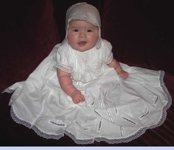 NEW Baby Dove Cotton Christening Gown with Lace Insertion and Embroidery (CC0584)