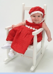 NEW Rare Editions Red Polka Dot Twirl Dress with Matching Beret  (CC07124)