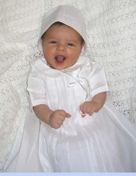 NEW Feltman Brothers Christening Gown with Pintucks, Fagoting, and Embroidery (CR0581)