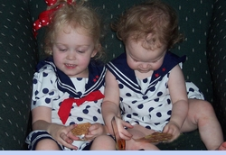 <strong>Baby Bethany Amber and Baby Peyton Rose Noelle in Dotted Sailor Outfits</strong>