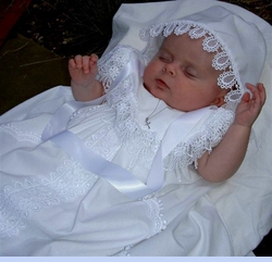 NEW Exquisite Venice Lace Trimmed Christening Gown with Portrait Collar (CR0520)