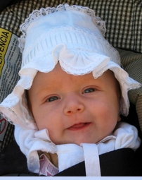 <strong>Baby Clarise in Vintage 1950s Pintucked Bonnet</strong>