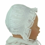 NEW Will'Beth White Smocked Bonnet with Lace Trimmed Face Ruffle