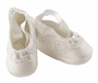 NEW Sarah Louise White Satin Ballet Style Christening Shoes with Lace and Ribbon Roses