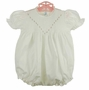 NEW Feltman Brothers White Smocked Bubble with Pink Embroidered Rosebuds