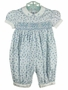 "<img src=""http://site.grammies-attic.com/images/blue-sold-1.gif""> NEW Feltman Brothers Blue Flowered Smocked Bubble with White Embroidered Collar"