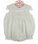 "<img src=""http://site.grammies-attic.com/images/blue-sold-1.gif""> NEW Feltman Brothers White Sleeveless Smocked Bubble with Pink Embroidery"