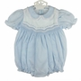 "<img src=""http://site.grammies-attic.com/images/blue-sold-1.gif""> NEW Feltman Brothers Blue Smocked Bubble with Embroidery and Lace Trim"