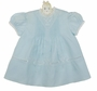 NEW Hand Embroidered Pale Blue Pintucked Dress with Embroidery and Lace Insertion