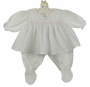 "<img src=""http://site.grammies-attic.com/images/blue-sold-1.gif"">   NEW Feltman Brothers White Footie Set with Pink Smocking"