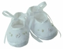 NEW Willbeth White Shoes with White Ribbon Flowers and Pale Pink Embroidery